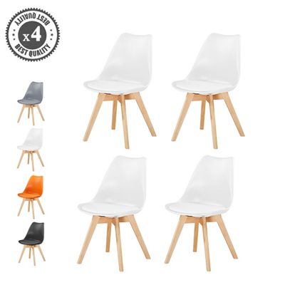 Set of 4 Modern Design Chair's Eames Style Solid Wooden Frame Dining Chairs (White)
