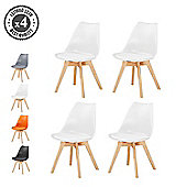 Set of 4 Modern Design Chair Eames Style Solid Wooden Frame (White)