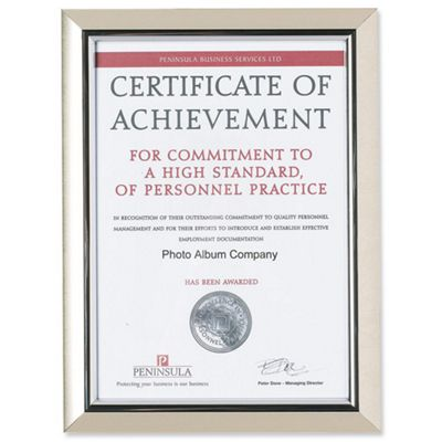 The Photo Album Company Deluxe Certificate Frame Non-Glass Holds A4 Silver Ref A4PEL-SIL