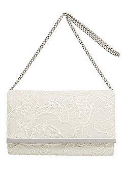 F&F Lace Metal Trim Clutch Bag - Ivory