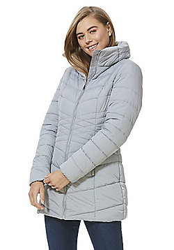 F&F Shower Resistant Padded Long Line Jacket - Grey