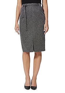 F&F Marl Knit Pencil Skirt - Black & White