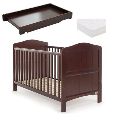 Obaby Whitby Cot Bed/Mattress/Cot Top Changer - Walnut