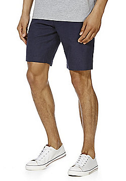 F&F Puppytooth Linen Rich Shorts - Navy