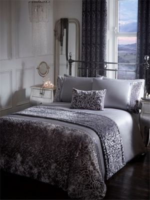Amelia duvet cover and pillowcase set - Steel - Double