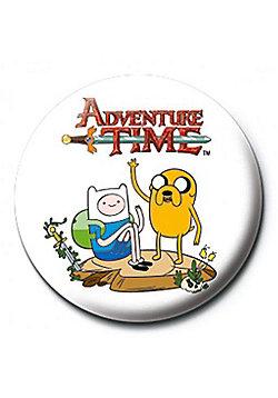 Adventure Time Finn & Jake White AT Badge - White