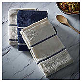 Go Cook Navy Stripe Kitchen Towel 3pk