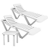 Resol Master White Sun Loungers & Side Table - x2 Sun Loungers and 1 Table