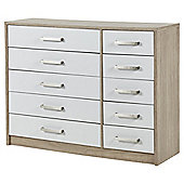 Delta 5 + 5 Drawer Chest Oak Effect, White