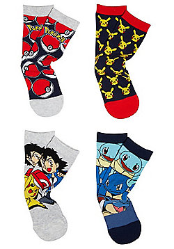 Pokémon 4 Pair Pack of Character Ankle Socks - Multi