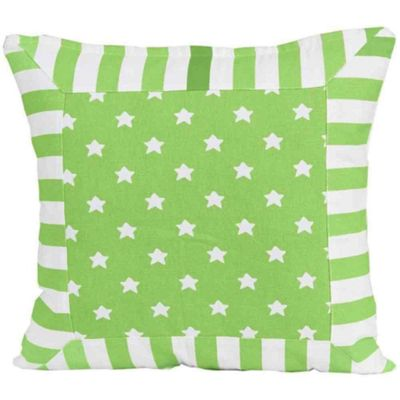 Homescapes Cotton Green Stripe Border and Stars Cushion Cover, 45 x 45 cm