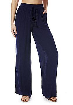 F&F Crinkle Wide Leg Beach Trousers - Navy