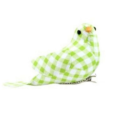 Gingham Clip On Easter Bird-Green