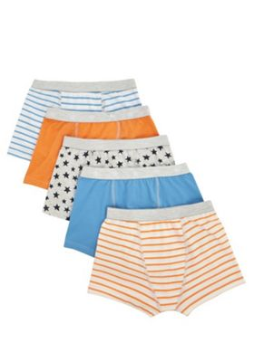 F&F 5 Pack of Star Print and Striped Trunks Multi 5-6 years