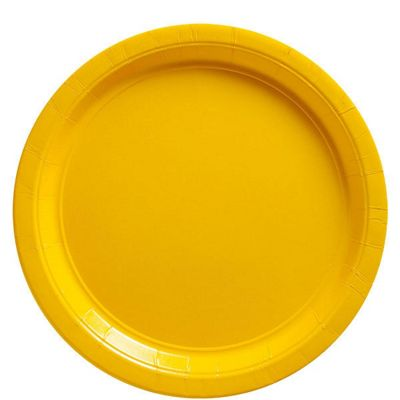 Yellow Plates - 22.8cm Paper Party Plates - 50 Pack