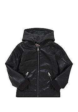 Minoti Hooded Faux Leather Jacket - Black