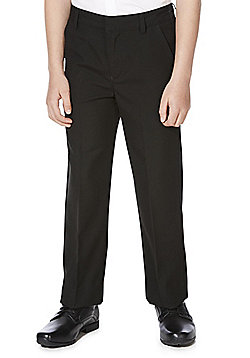 F&F School Boys Flat Front Slim Leg Trousers - Black