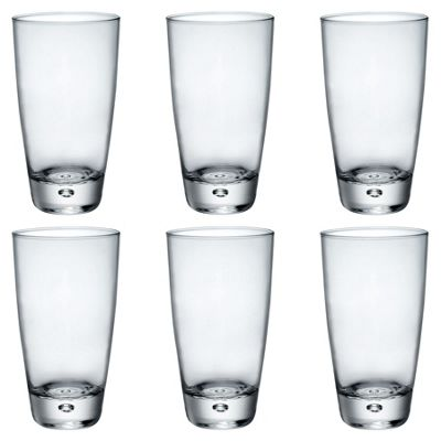 Bormioli Rocco Luna Clear Bubble Base Highball Cocktail Glasses - 340ml - Pack of 6
