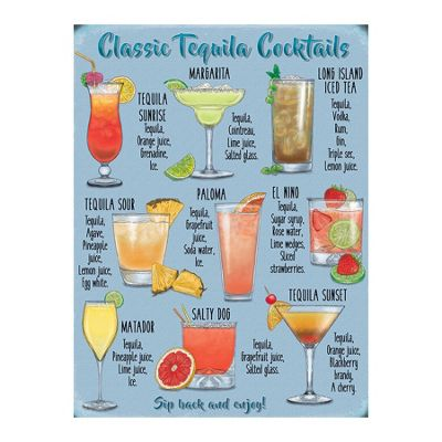 Original Metal Sign Co Large, Tequila Cocktails 30 x 40cm