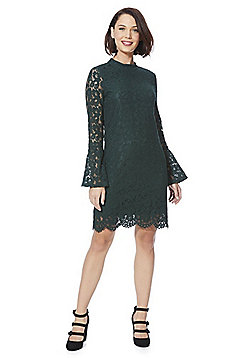 Vila Lace Bell Sleeve Dress - Forest green