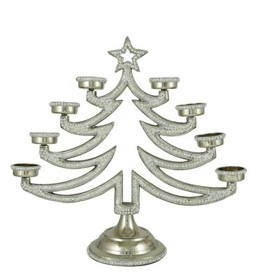 Nickel Glitz Christmas Tree 8 Tealight Holder