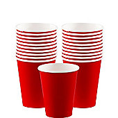 Red Cups - 266ml Paper Party Cups - 20 Pack