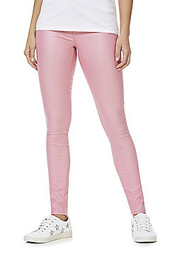 Vila Coated Mid Rise Skinny Jeans - Pink