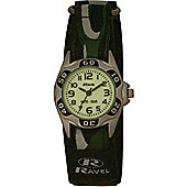 Boys Army Green Camouflage Nite-Glo Velcro Strap Watch