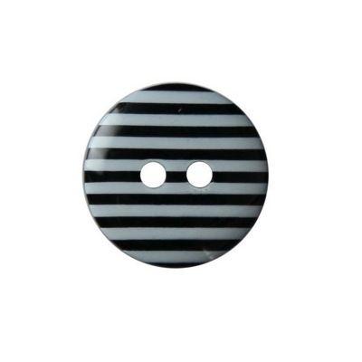 Hemline Two Hole Black Striped Buttons 15mm 6pk