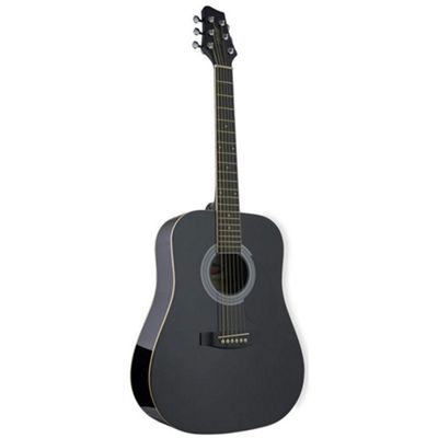 Stagg SW201 3/4 Dreadnought Guitar - Black – with 6 Months Free Online Music Lessons