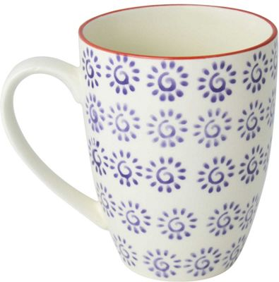 Nicola Spring Patterned Mug - 360ml (12.7oz) - Purple / Red Swirl Design