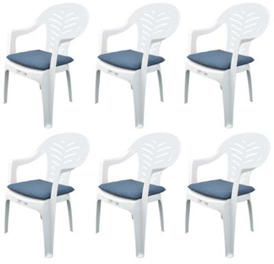 Pack of 6 Garden Chair Cushions - Fits Resol Palma / Cool - Blue