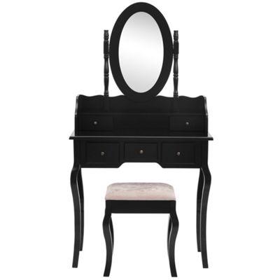 Beautify Dressing Table Black Set Bedroom Makeup Vanity Desk With Stool Mirror