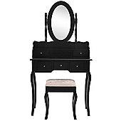 Beautify Dressing Table Black Set Bedroom Makeup Vanity Desk with Stool & Mirror