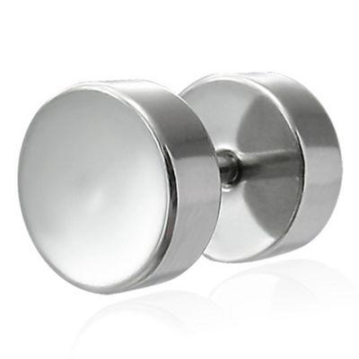 Urban Male Polished Stainless Steel Fake Ear Expander 8mm Plug Single Stud Earring