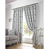 Worcester Pencil Pleat Lined Curtains - Blue