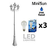 Traditional 1.95m 3 Way Outdoor LED Lamp Post in White