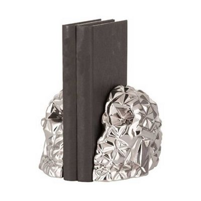 Bahne Bookend Skull Design in Silver designed by What About Us Each Half H18 x W13 x D7 cm