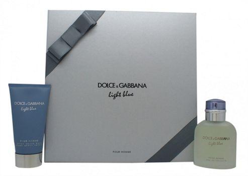 Dolce & Gabbana Light Blue Gift Set 75ml EDT + 75ml Aftershave Balm For Men