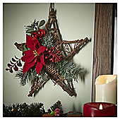 Red Rattan Star Christmas Hanging Decoration, 30cm