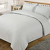 Dreamscene Satin Stripe Quilt Duvet Cover with Pillow Case Single Double King - Silver