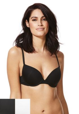 F&F 2 Pack of Push-Up Bras White/Black 36 DD cup