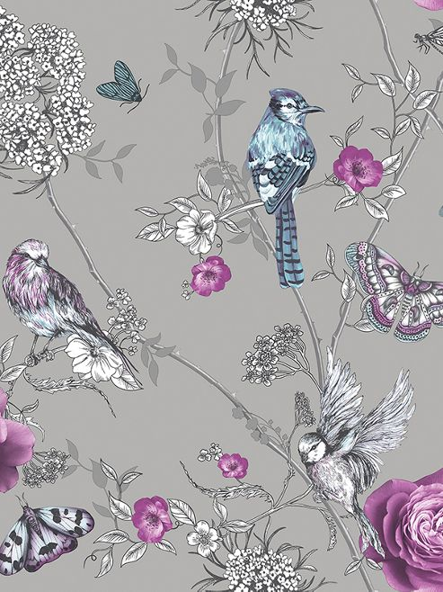 Fantasia Paradise Garden Silver Wallpaper Arthouse 692403