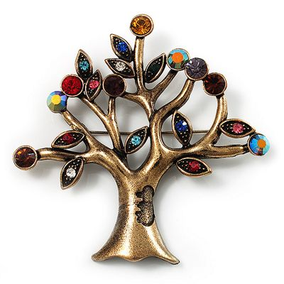 Vintage Multicoloured Tree Brooch (Bronze Tone) -7.5cm Length