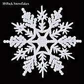 White Glitter Snowflakes - Christmas Decorations - 10 Pack