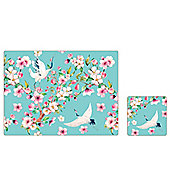 iStyle Cherry Blossom Placemat and Coaster Set