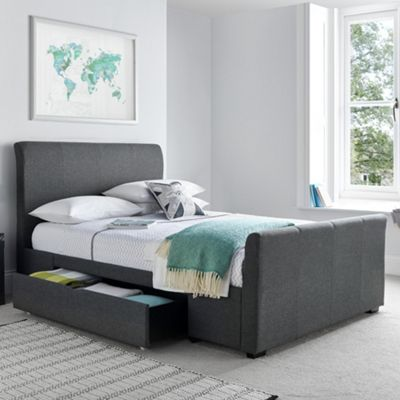 Happy Beds Hexham Fabric 2 Drawer Storage Bedwith Orthopaedic Mattress - Grey - 4ft6 Double