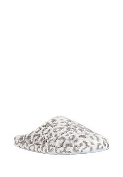 F&F Animal Print Mule Slippers - Grey