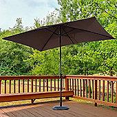 Outsunny 2 x 3m Tilt Parasol Sun Umbrella Garden Sunshade Aluminium w/ Hand Crank