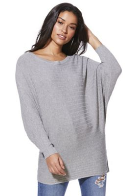 F&F Horizontal Rib Knit Batwing Jumper with As New Technology Grey 8